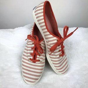 Keds Canvas Shoes 9.5 Orange Stripe Lace Up